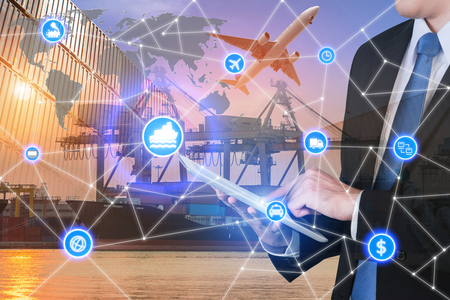 Photo for Global business connection technology interface global partner connection of Container Cargo freight ship for logistic import export background. Business logistics concept , internet of things - Royalty Free Image