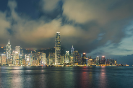 Photo for Night view of Victoria Harbour in Hong Kong. - Royalty Free Image