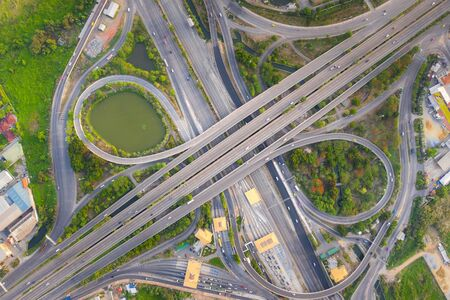 Photo for Aerial View Above of Busy Highway Road Junctions at day. The Intersecting Freeway Road Overpass The Eastern Outer Ring Road of Bangkok. - Royalty Free Image