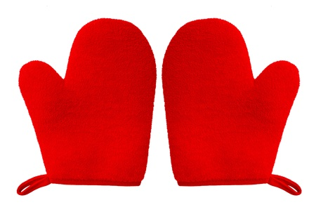 double oven glove mitt red color and isolated on white background