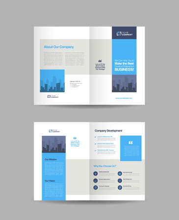Illustration pour Business Bi-Fold Brochure Design   Booklet Design   Marketing and Financial Document - image libre de droit