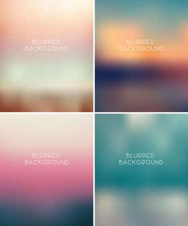 Set of fou blurred vector backgrounds, eps 10