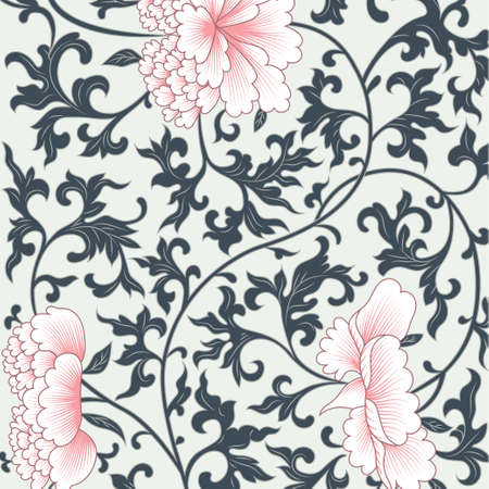 Illustration pour Vector flower pattern background in chinese style - image libre de droit