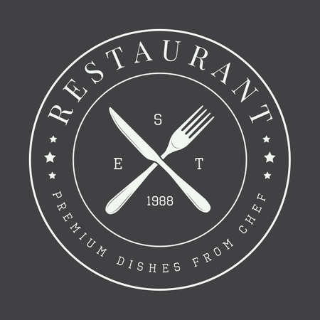 vintage restaurant logo, badge or emblem. Vector illustration