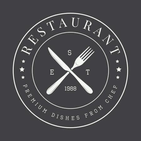 vintage restaurant logo, badge or emblem. Vector illustration