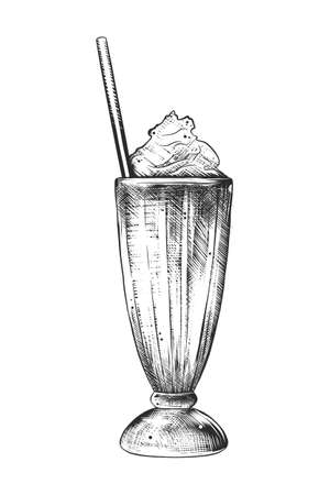 Illustration pour Vector engraved style illustration for posters, decoration and print. Hand drawn sketch of milkshake in monochrome isolated on white background. Detailed vintage woodcut style drawing. - image libre de droit