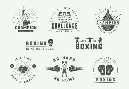 Boxing and martial arts   badges and labels in vintage style. Motivational posters with inspirational quotes. Vector illustration
