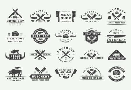 Illustration for Set of vintage butchery meat, steak or bbq  emblems, badges, labels. Graphic Art. Illustration. Vector - Royalty Free Image