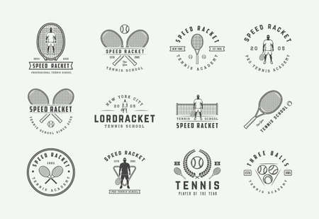 Ilustración de Set of vintage tennis   emblems, badges, labels and design elements. Vector illustration. Monochrome Graphic Art. - Imagen libre de derechos