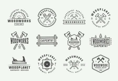 Illustration for Set of vintage carpentry, woodwork and mechanic labels, badges, emblems and logo. Vector illustration. Monochrome Graphic Art. - Royalty Free Image