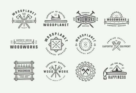Ilustración de Set of vintage carpentry, woodwork and mechanic labels, badges, emblems and logo. Vector illustration. Monochrome Graphic Art. - Imagen libre de derechos