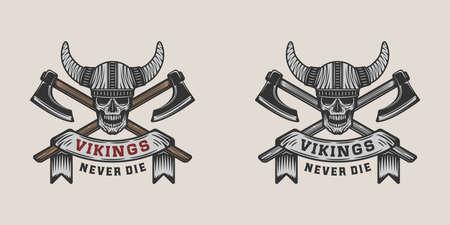 Illustration pour Set of vintage vikings motivational  label, emblem, badge in retro style with quote. Monochrome Graphic Art. Vector Illustration. - image libre de droit
