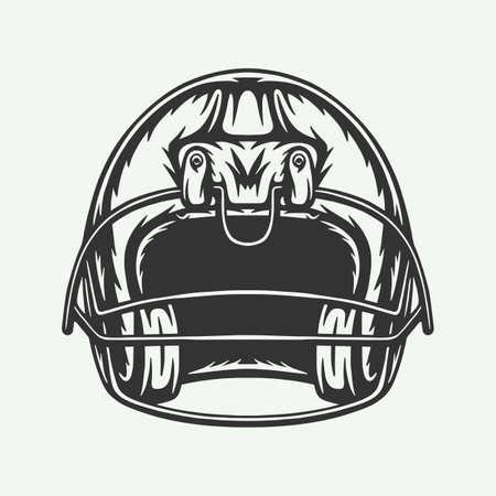 Illustration pour Vintage retro woodcut engraving American football helmet helm protection cap. Can be used like emblem, logo, badge, label. mark, poster or print. Monochrome Graphic Art. Vector. - image libre de droit