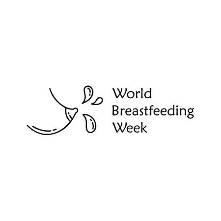 Doodle Poster Of World Breastfeeding Week Contour Cartoon Female Breast With Isolated Milk Drops Hand Drawn Vector Horizontal Concept Black And White Outline Minimalistic Illustration For Banner Royalty Free Vector Graphics