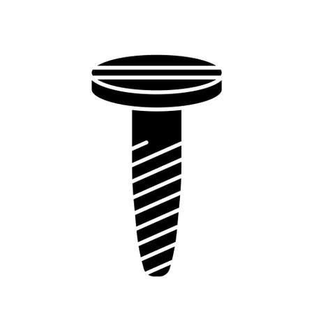 Cutout silhouette Spiral screw with countersunk head with straight slot icon. Outline logo of threaded nail. Black illustration of self-tapping screw. Flat isolated vector image on white background