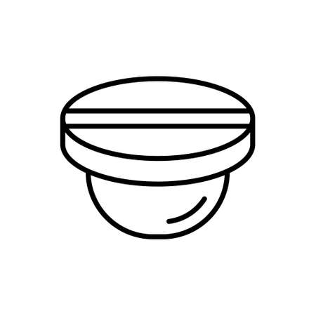 Round button, nail or stub with straight slot icon. Linear logo of plug, stopper. Black illustration. Contour isolated vector image on white background