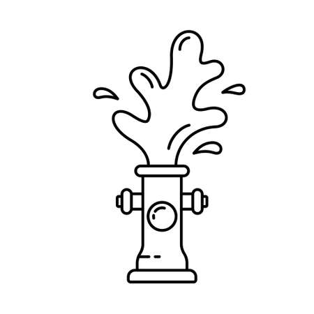 Fire hydrant with water fountain. Linear icon of gushing fireplug. Black illustration of street aqua pipe. Contour isolated vector on white background. Explosion or cleaning of water supply