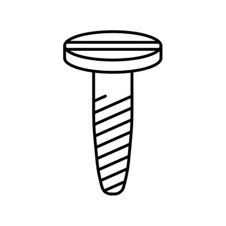 Spiral screw with countersunk head with straight slot icon. Linear logo of standard threaded nail. Black illustration of self-tapping screw. Contour isolated vector image on white background