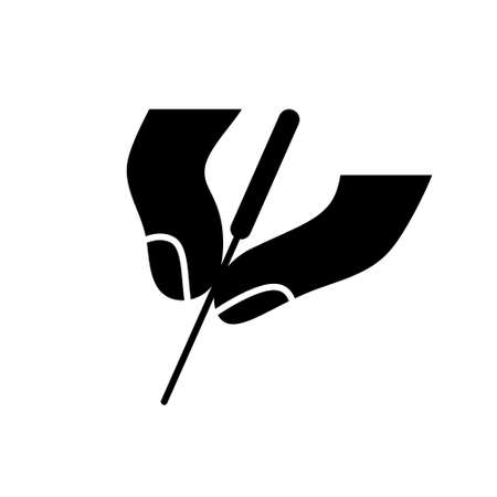 Illustration pour Silhouette Acupuncture icon. Outline icon of two fingers hold needle. Black simple illustration of alternative medicine and reflexology. - image libre de droit