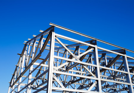 Photo for metal frame of the roof against the blue sky - Royalty Free Image