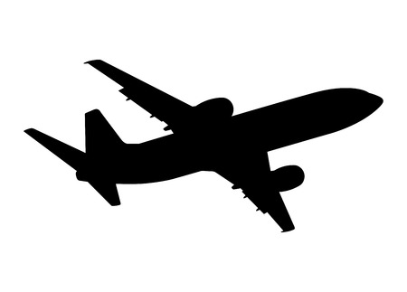 Ilustración de plane silhouette on a white background, vector illustration - Imagen libre de derechos