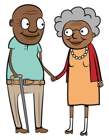 Illustration of a happy old black couple holding hands