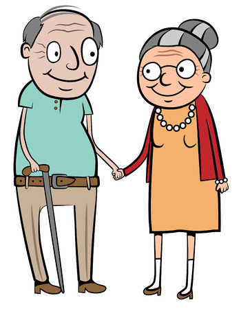 illustration of a happy old couple holding hands