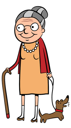 illustration of a happy old woman walking her dog