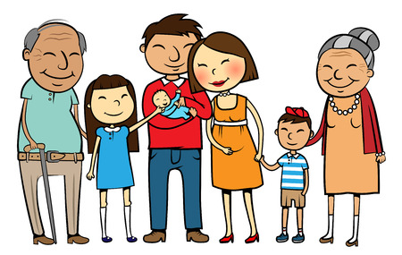Cartoon vector illustration of a large Asian family with parents, children and grandparents