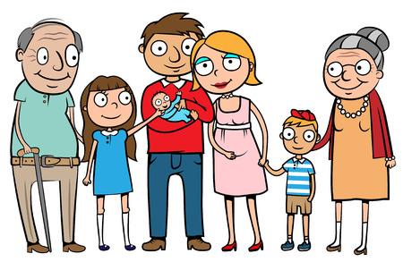 Illustration pour Cartoon vector illustration of a large family with parents, children and grandparents - image libre de droit