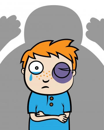 Cartoon vector illustration of a bullied boy with black eye or victim of domestic violence