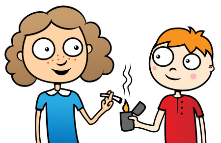 Cartoon vector illustration of young children smoking a cigarette