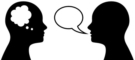 Illustration pour Vector illustration of people who think and talk, symbol or icon of head with thought and speech bubble - image libre de droit