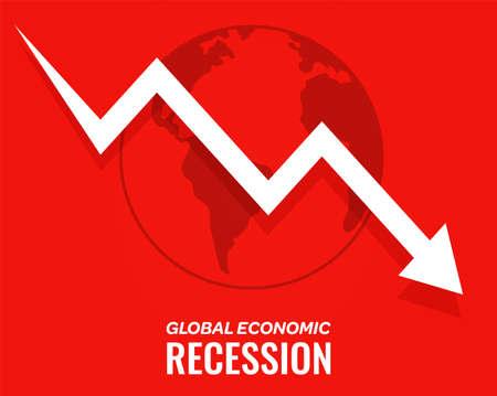 Illustration pour global economic recession downfall arrow red background - image libre de droit