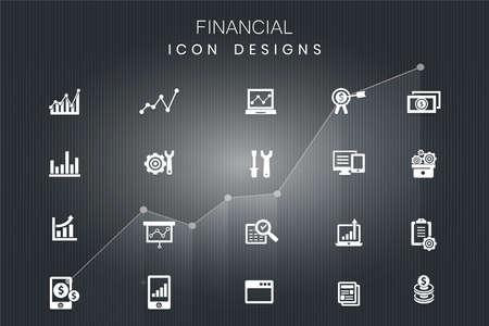Illustration pour colorful financial icons, great design, in vector - image libre de droit