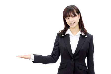 Young japanese business woman hand showing blank sign
