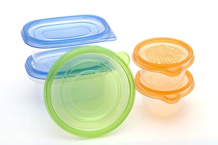 Photo for Stack of food plastic containers - Royalty Free Image