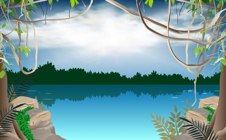 Illustration pour River in the jungle - image libre de droit