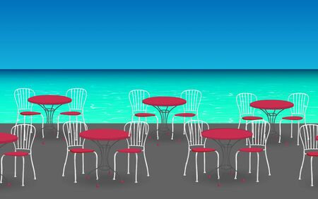 Illustration pour chairs with tables at the outdoor cafe - image libre de droit