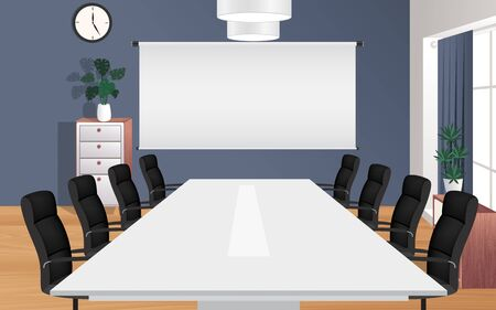 Illustration pour Tables and chairs in the meeting room - image libre de droit