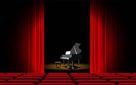 Illustration for piano on the stage in the hall - Royalty Free Image