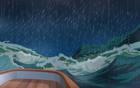 Illustration pour The ship was in the middle of a storm in the sea. - image libre de droit