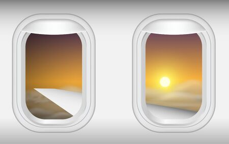 Illustration for view of windows of plane in on the sky in the morning - Royalty Free Image