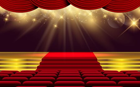 Illustration for gold light on the stage in the hall - Royalty Free Image