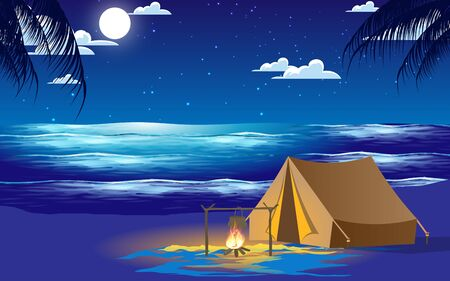 Illustration pour camping at the beach in the nigh - image libre de droit