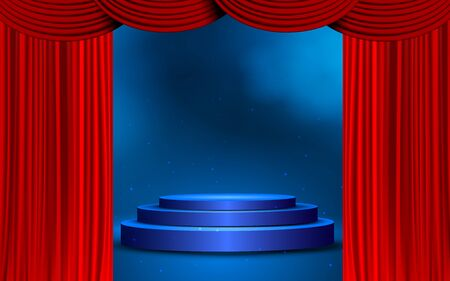 Illustration for blue podium with red curtain on the stage - Royalty Free Image
