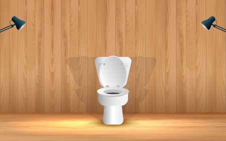 Illustration for white toilet in the wooden toilet room - Royalty Free Image