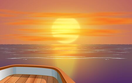 Illustration for view of sunset at the ocean on wooden boat - Royalty Free Image