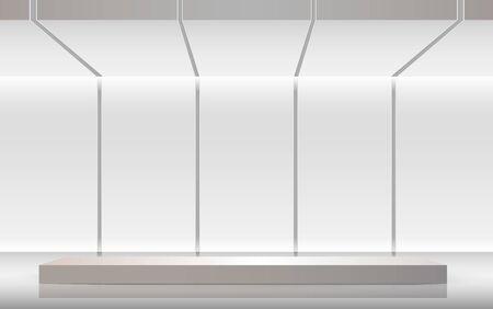 Illustration pour white stand in the white studio room - image libre de droit