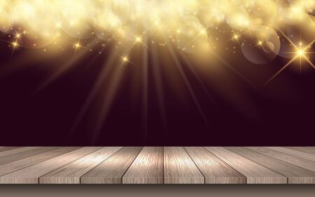 Illustration for wooden table with golden light background - Royalty Free Image